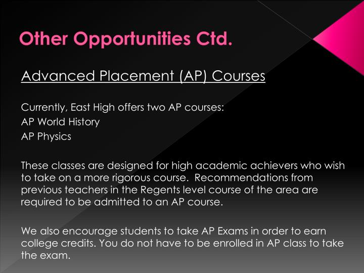 Other Opportunities Ctd.