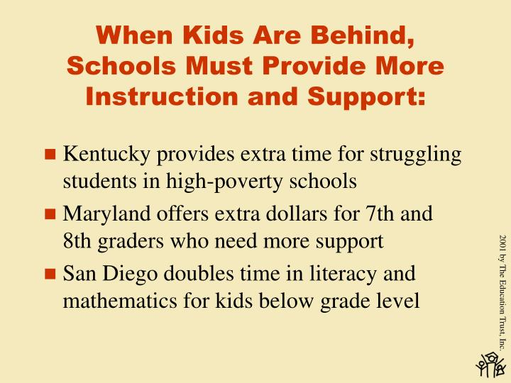 When Kids Are Behind, Schools Must Provide More Instruction and Support: