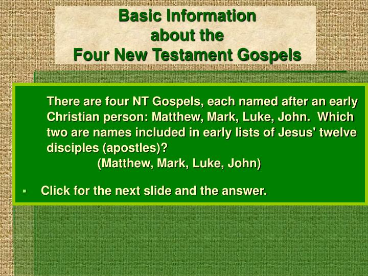 basic information about the four new testament gospels n.