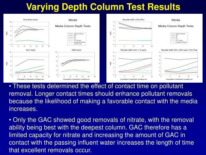 Varying Depth Column Test Results