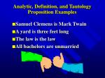 analytic definition and tautology proposition examples