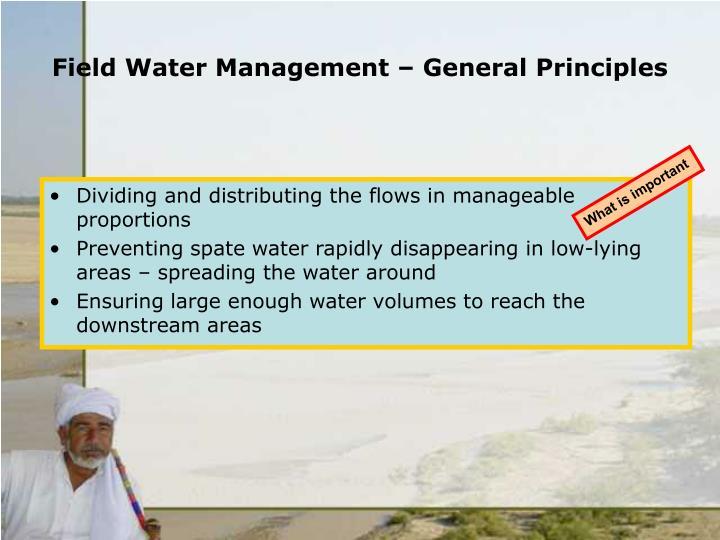Field water management general principles