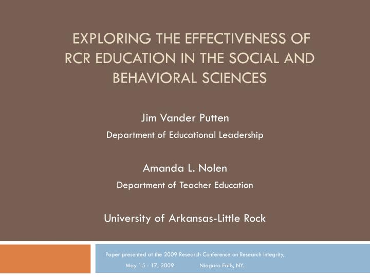 exploring the effectiveness of rcr education in the social and behavioral sciences n.