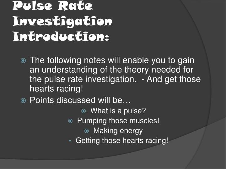 investigation on pulse rate essay
