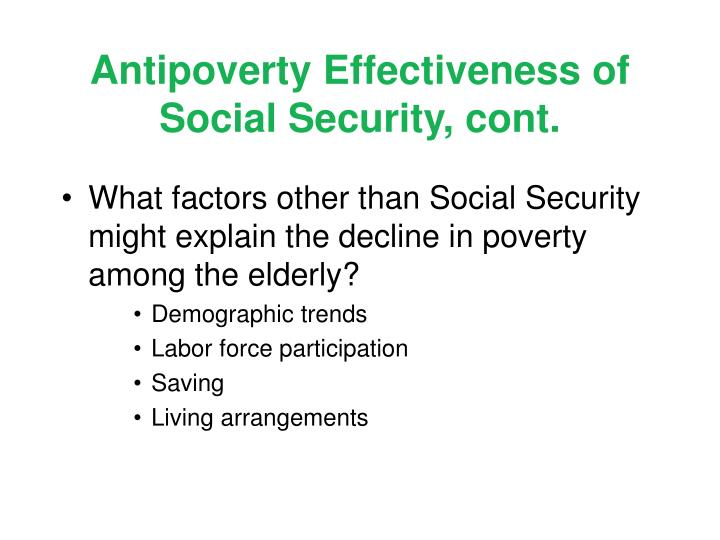 Antipoverty Effectiveness of Social Security, cont.