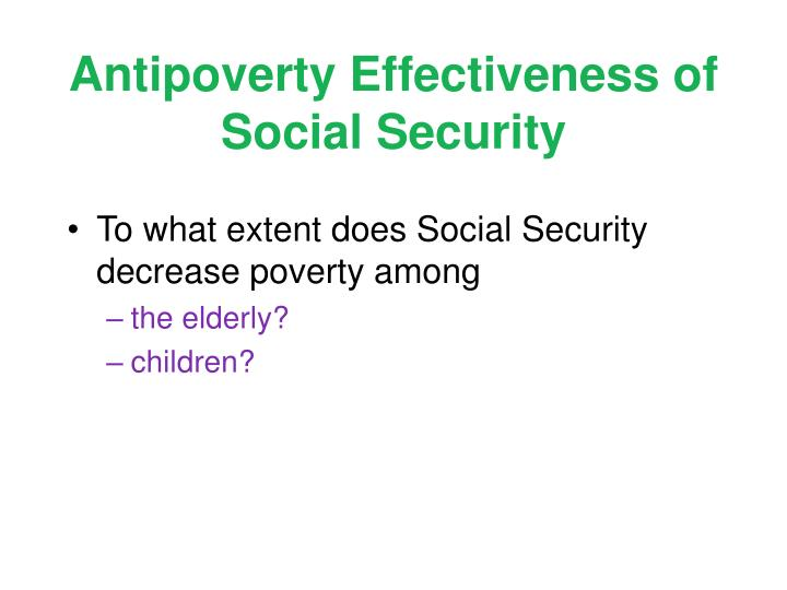 Antipoverty Effectiveness of Social Security