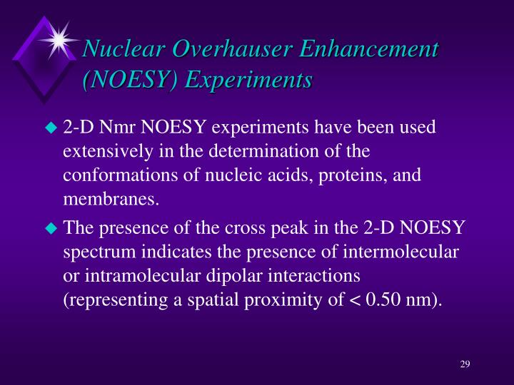 Nuclear Overhauser Enhancement (NOESY) Experiments