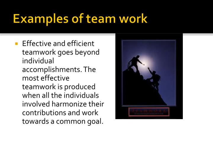 report on teamwork and the individuals contribution Chapter 6: teamwork and working in teams takes time, commitment and energy periodic meetings between all members of the team and the instructor contribute to a common understanding of the successes and challenges experienced by the project team.