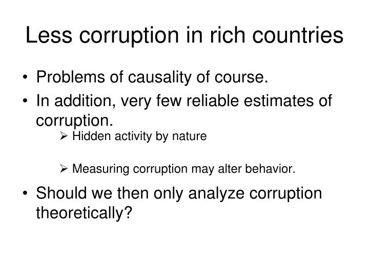 Less corruption in rich countries