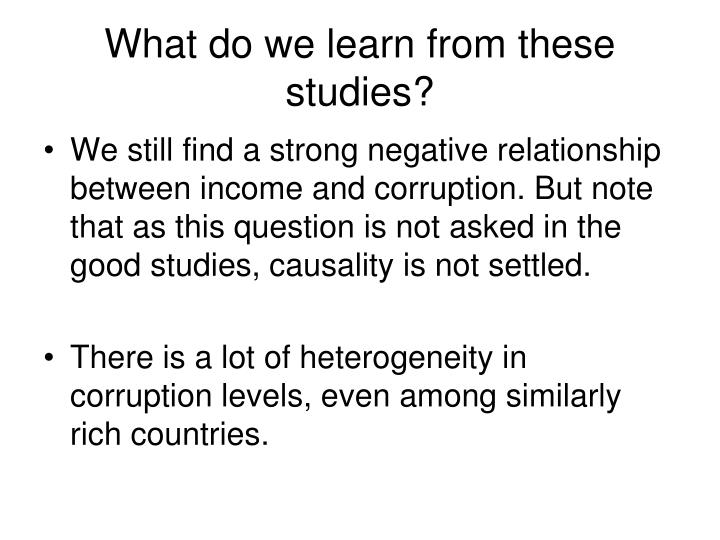 What do we learn from these studies?