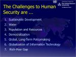 the challenges to human security are