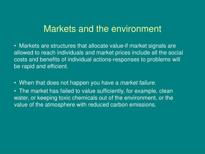 markets and the environment n.