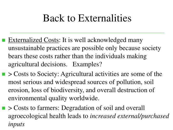 Back to Externalities