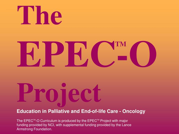 the epec o project education in palliative and end of life care oncology n.