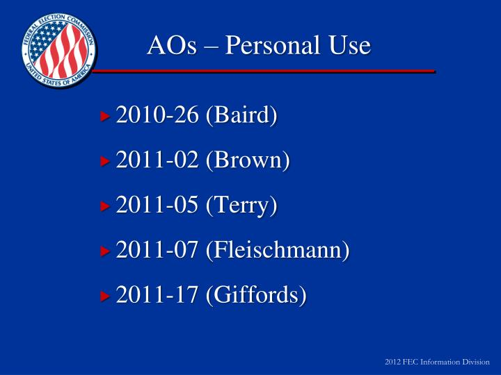 AOs – Personal Use