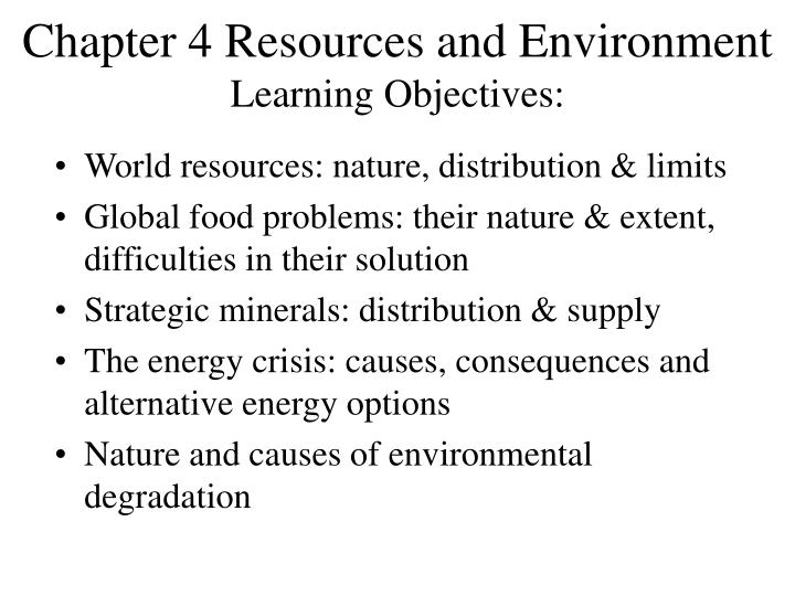 chapter 4 resources and environment learning objectives n.