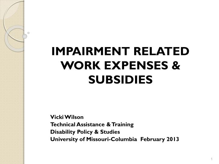 impairment related work expenses subsidies n.
