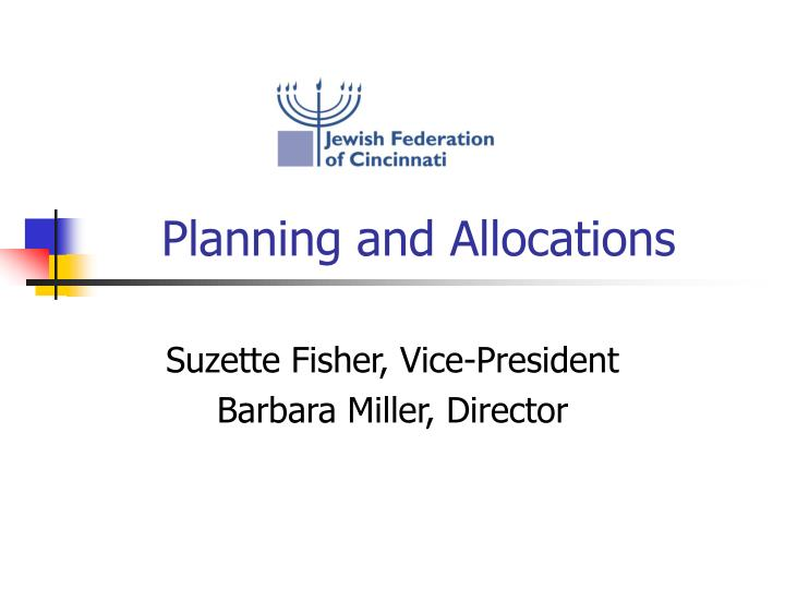 planning and allocations n.