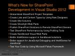 what s new for sharepoint development in visual studio 2012