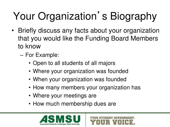 Your organization s biography