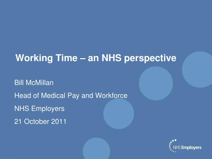 working time an nhs perspective n.