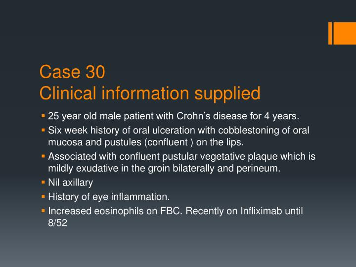 case 30 clinical information supplied n.