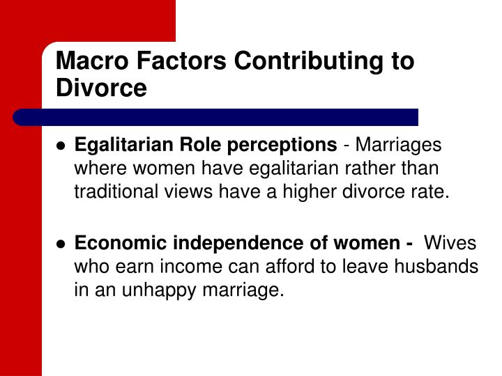 contributing factors to divorce essay The next most often cited major contributing factor to divorce was infidelity, endorsed by 596% of individuals and by at least one partner in 888% of couples of those couples who had a least one partner report infidelity as a reason for divorce, only 313% represented couples in which both partners agreed that infidelity was a major.