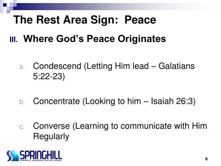 The Rest Area Sign:  Peace
