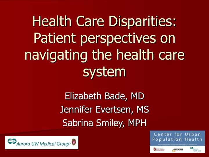 health care disparities patient perspectives on navigating the health care system n.