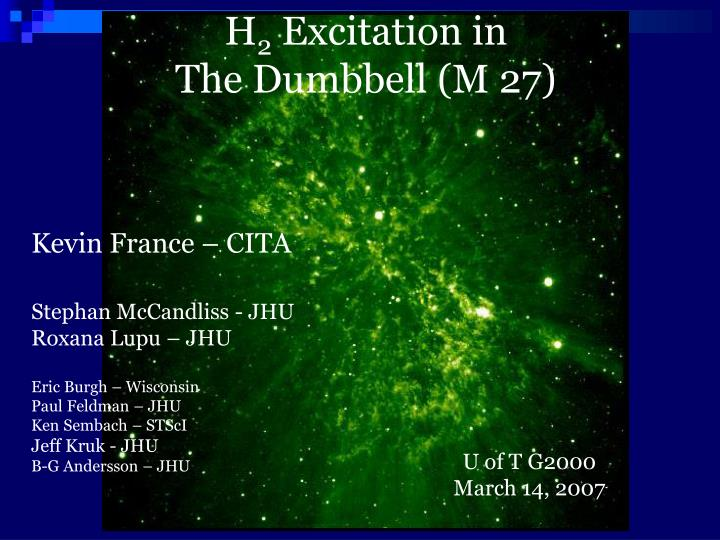 h 2 excitation in the dumbbell m 27 n.