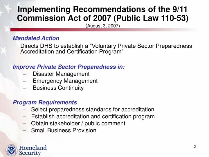 Implementing recommendations of the 9 11 commission act of 2007 public law 110 53