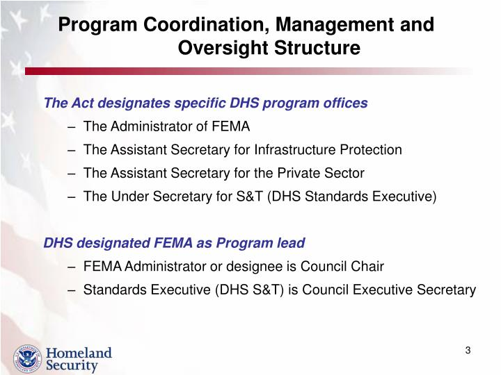 Program coordination management and oversight structure