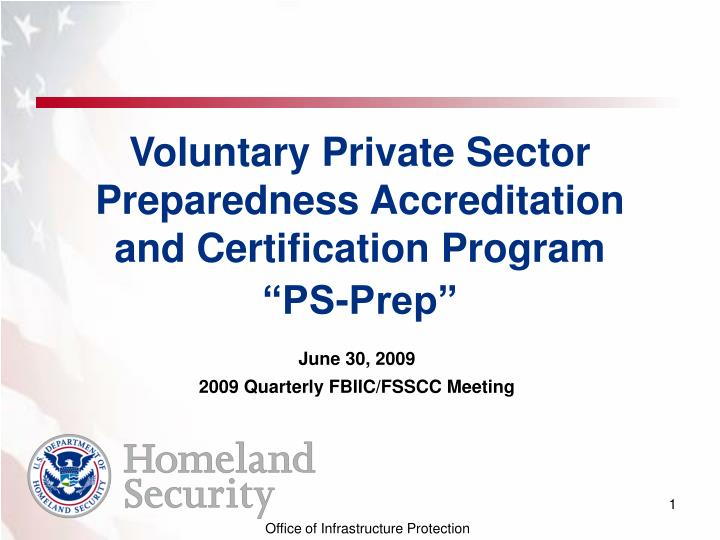 Voluntary private sector preparedness accreditation and certification program ps prep