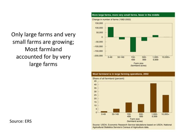 Only large farms and very small farms are growing;