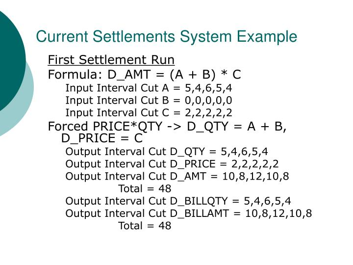 Current Settlements System Example
