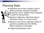 planning tests