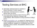 testing services at bhc