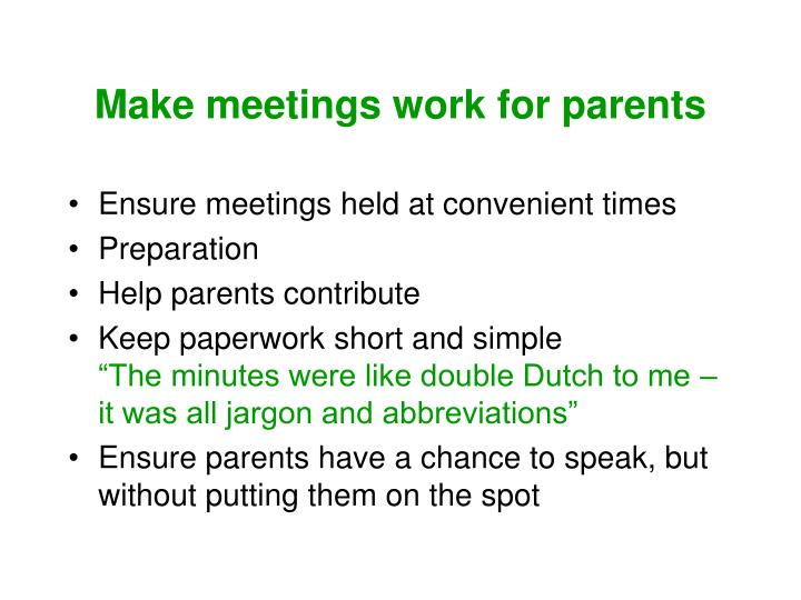 Make meetings work for parents