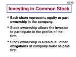 investing in common stock
