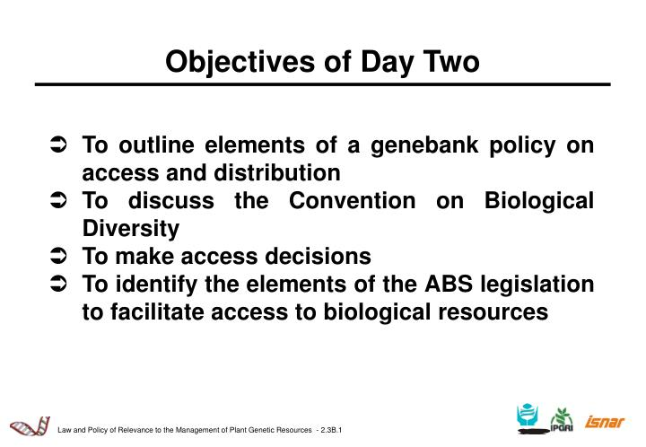 objectives of day two n.