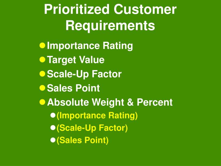 Prioritized Customer Requirements