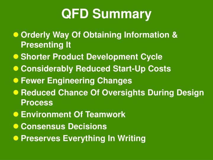 QFD Summary