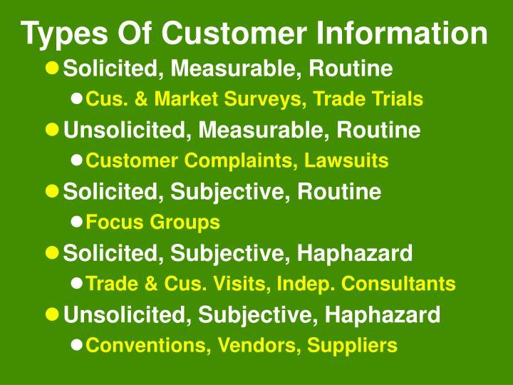Types Of Customer Information