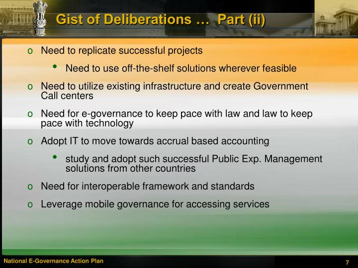 Gist of Deliberations …  Part (ii)