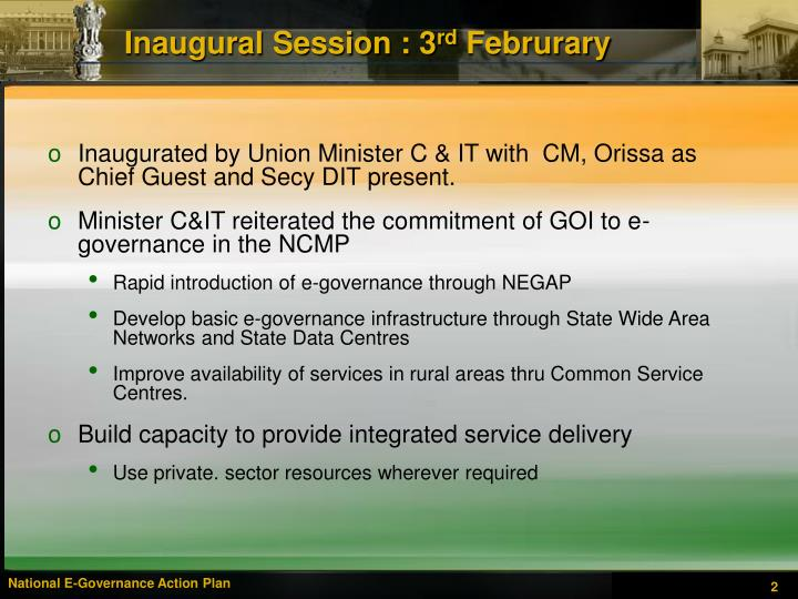 Inaugural session 3 rd februrary