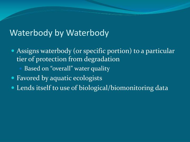 Waterbody by waterbody