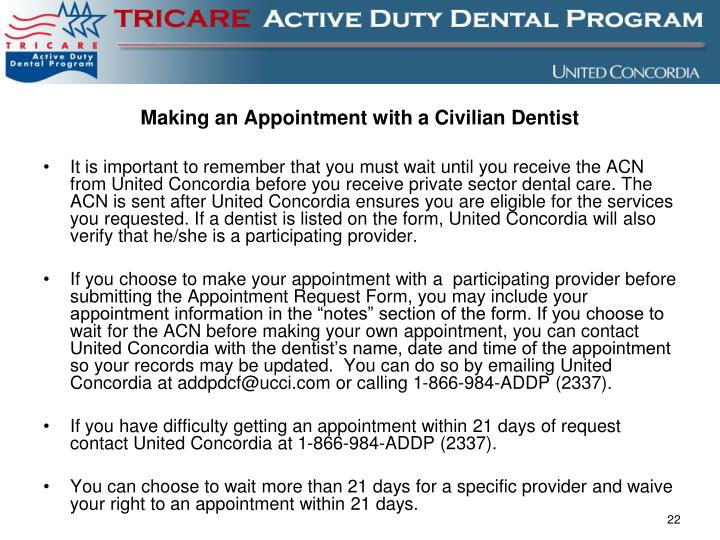 Making an Appointment with a Civilian Dentist