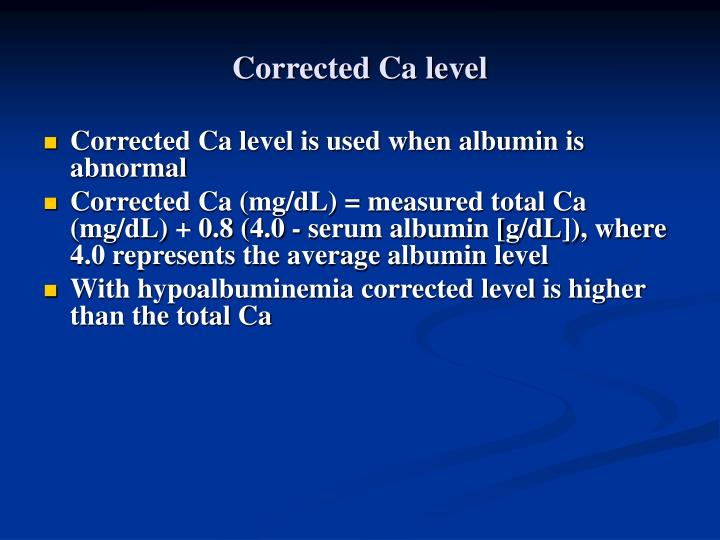 Corrected Ca level