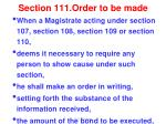 section 111 order to be made