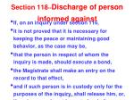 section 118 discharge of person informed against